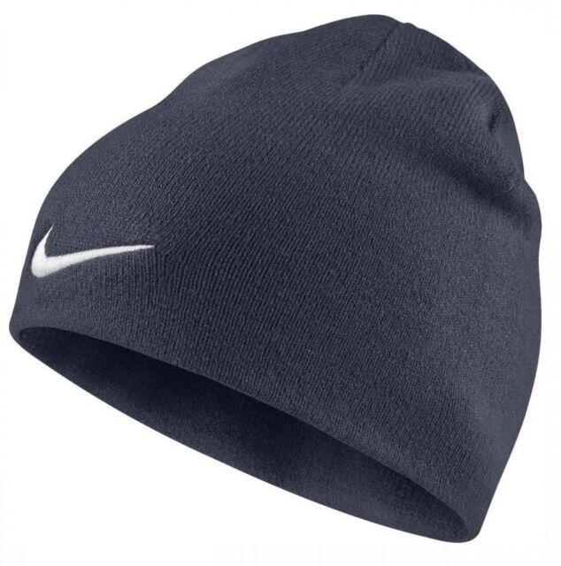 8a8b421f5 Nike Beanie Hat Navy Blue Black White Tick Logo Swoosh Mens Unisex Woolly  Winter