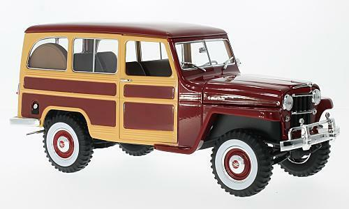 Jeep Willys Station Wagon, rosso oscuro madera óptica, 1 18, la Lucky Cast
