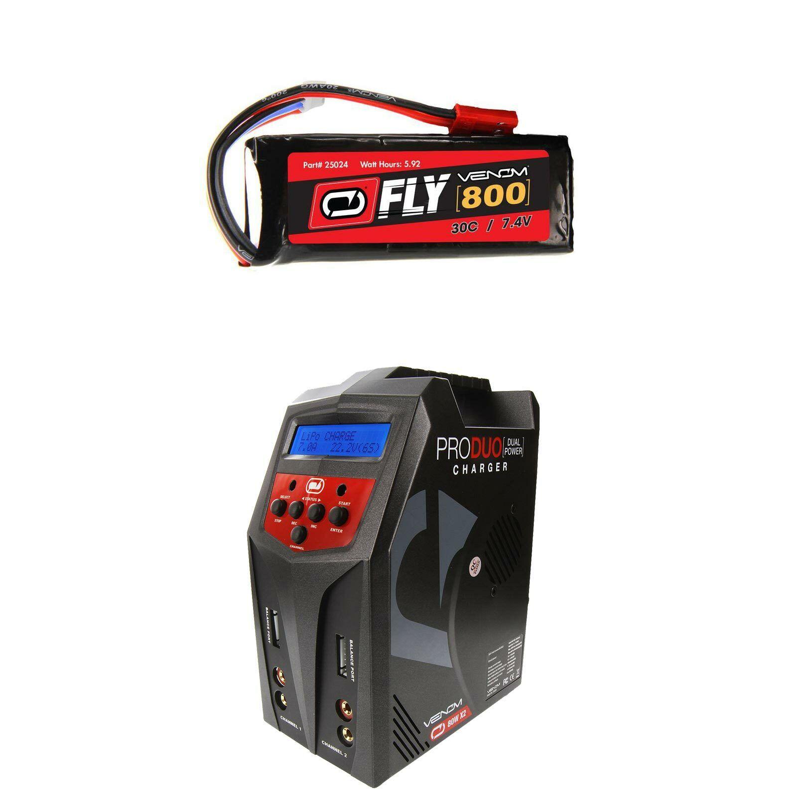 Venom volar 30C 2S 800mAh 7.4V Batería Lipo Y Cargador Combo Pro Duo