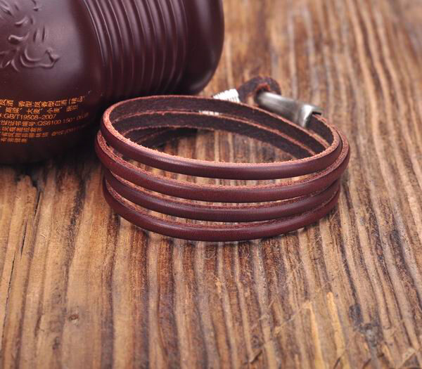 S350 Cool Hook Double Wrap 4-Band Genuine Leather Bracelet Wristband Cuff Brown