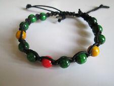 Handmade Shambala bracelet. Wooden bids. Traffic ligths. Red. Yellow. Green.