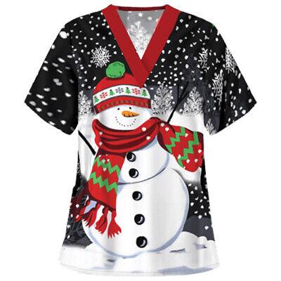 Women/'s Nursing Scrub Tops Printed Medical Uniform Merry Christmas Flowers Shirt