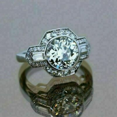 Engagement Wedding Ring 2.1 Ct Round Diamond Ring Solid 14k White Gold Certified