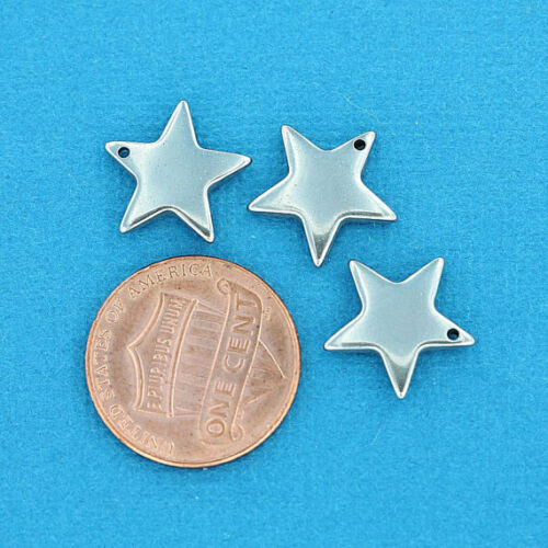 4 Stainless Steel Star Charm Pendants Stamping Tags Polished Finish 14mm MT269