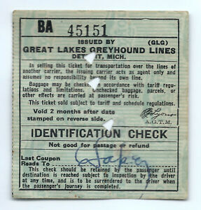 Details about 1947 Great Lakes Greyhound Bus Lines ticket, Detroit, Michigan