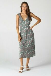 NWT-Angie-Green-V-Neck-Ruffle-Floral-Boho-Fall-Summer-Sun-Midi-Dress-S-M-L