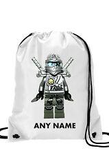 Personalizzato bambino bambina LEGO NINJA ZANE Argento borsa da palestra,