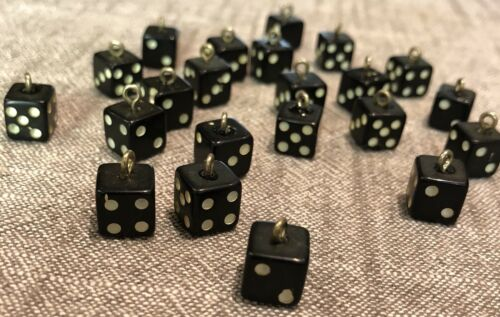 Hand Made American Mini 8mm Black Dice Charms w// Jump Ring Crafts Earrings 2-set