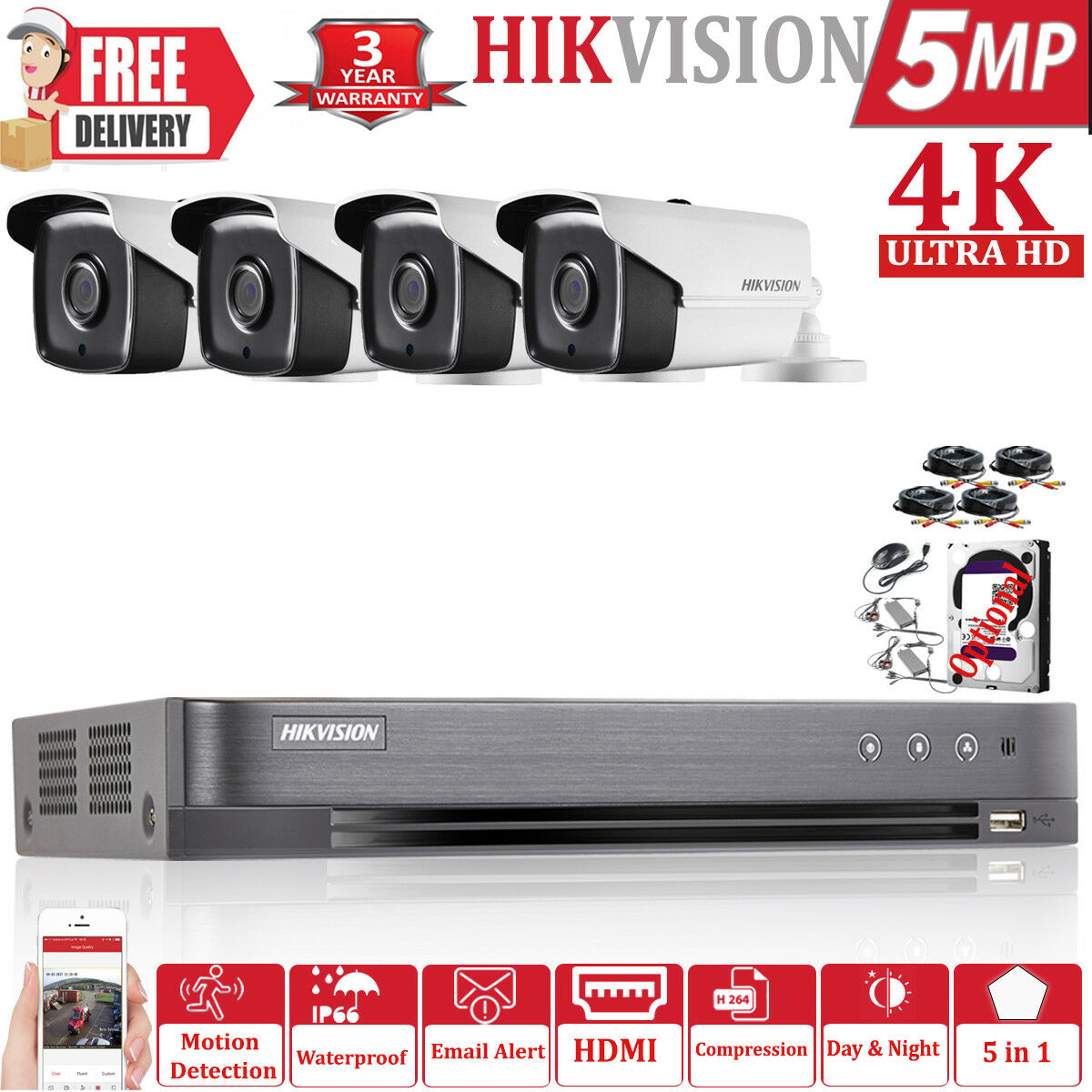 Hikvision 5MP CCTV Sistema Ultra HD DVR bala 4CH 8CH 3.6MM 40M Kit de cámara de bala DVR Exir cbb299