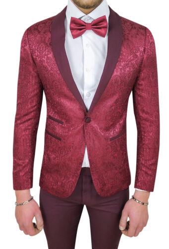 MEN/'S SUIT DIAMOND SATIN BURGUNDY DAMASCUS FLORAL SET DRESS CEREMONY