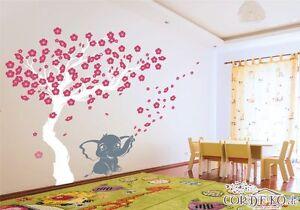 Details zu Kirschblüten Baum + Elefant Wandtattoo Blumen Blüten  Kinderzimmer Wandaufkleber