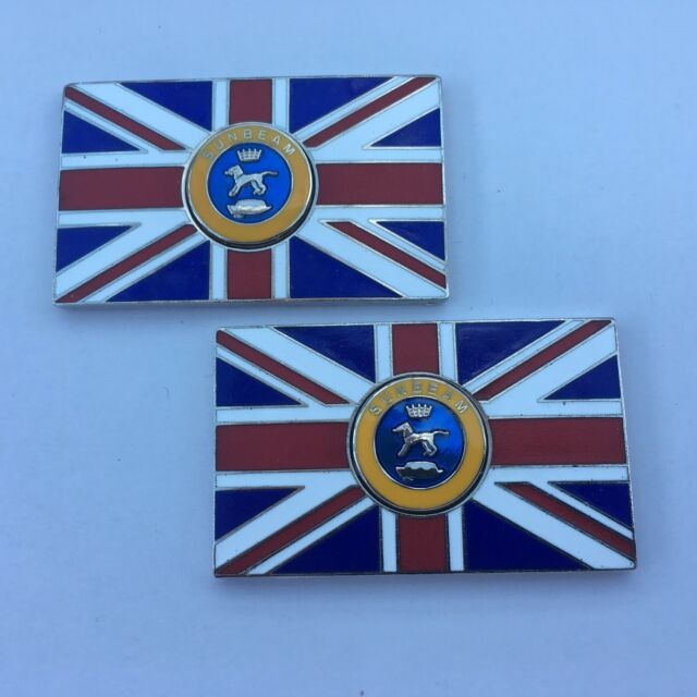 Pair of MORRIS Union Jack GB Brass Enamel Classic Car Badges Self Adhesive