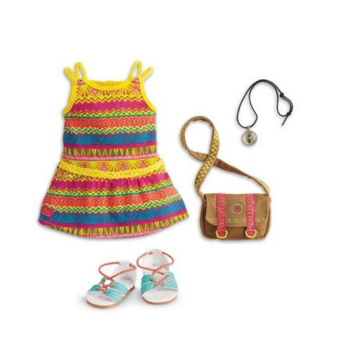 American Girl Doll GOTY LEA CLARK MEET OUTFIT Dress,Necklace,Bag, Shoes NEW