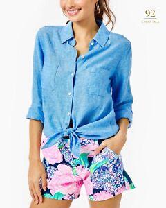 Lilly Pulitzer Breelyn Sleeveless Button Down Women/'s Top Beckon Blue X Resort