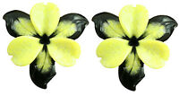 2-tone Carved Stone Flower Yellow And Black Serpentine Jewelry Making