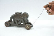 1940's Old Wooden Handcrafted Elephant On Wheels Pull Along Toy , Collectible