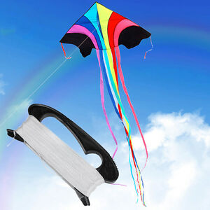 100m-Drachen-Fliegen-Linie-String-D-Form-Aufwickelgriff-Board-Outdoor-Kite-X0B2
