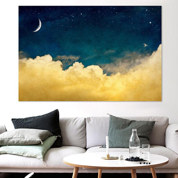 3D Mond, gelbe Wolke 556 Fototapeten Wandbild  BildTapete Familie AJSTORE DE
