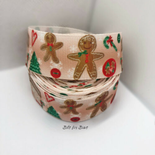 1 Yard Xmas Gingerbread Man Tree Cane Grosgrain Ribbon Craft Bow 25mm UK DIY