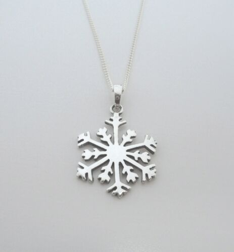"""18 or 20/"""" Silver Curb Chain 925 Sterling Silver Snowflake Pendant on 16"""