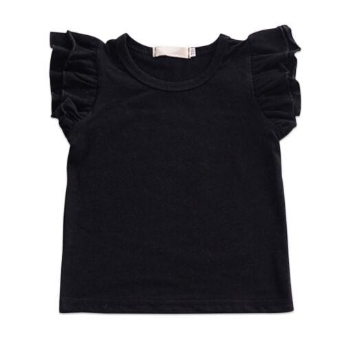 Toddler Kids Baby Girl Ruffle Short Sleeve T-shirt Tee Top Clothes Cotton Plain