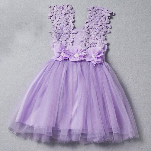 Kids Baby Girl Princess Lace Tulle Flower Tutu Sleeveless Party Short Dress New