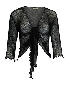 Femme-Femmes-Bali-Taille-unique-Tie-Up-Stretch-Net-Shrug-Cardigan-68-couleurs