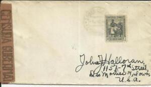 Spanish Guinea Sc#271(single frank) Santa Isabela 4/JUN/45 WWII Censor to USA