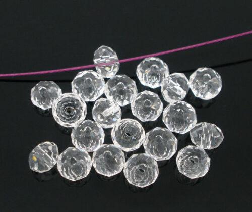 200 Klar Glasperlen Schliffperlen Facettiert Beads BICONE Rhombe 4mm