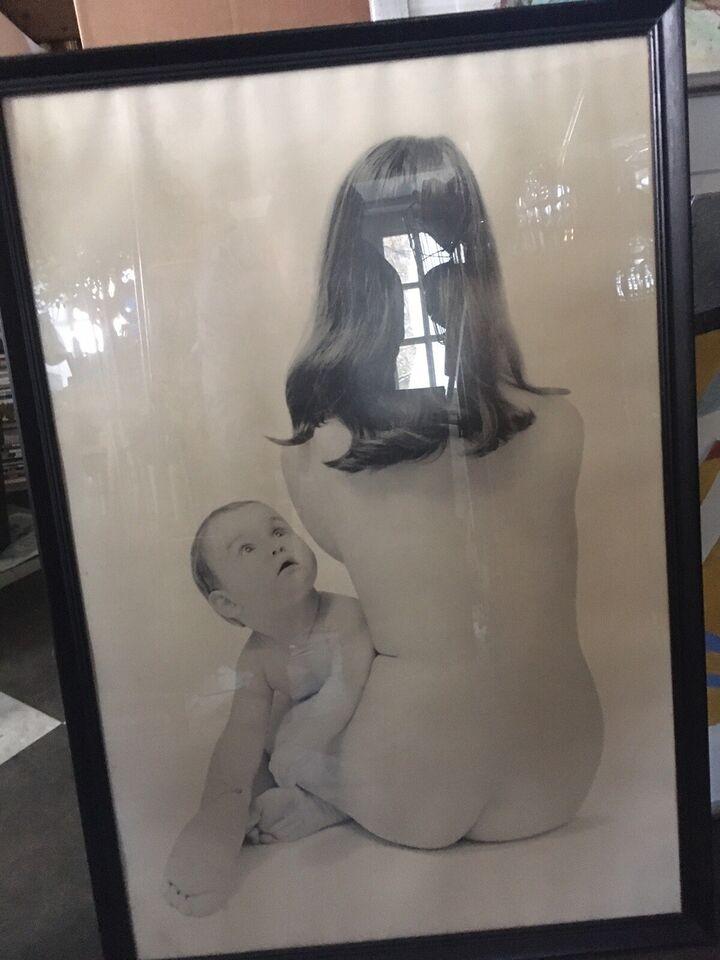 Sort hvid foto, motiv: Mor og barn