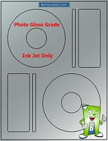 20 Photo Glossy Ink Jet Labels - Fits Memorex - 10 Sheets Cd / Dvd High Gloss