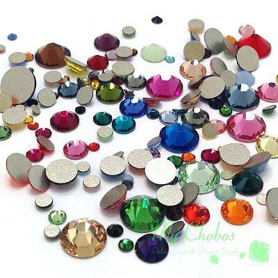 144 pieces Mixed Sizes & Colors Swarovski 2058 Flat backs No-Hotfix Rhinestones