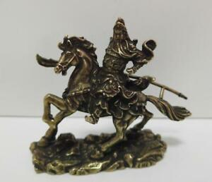 Chinese-Nongovernmental-Pure-Brass-Riding-Horse-Guan-Gong-Small-Statue