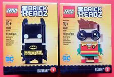 LEGO Brickheadz LOT OF 2 new  #1 Batman (41585) & #3 Robin (41587) SETS -INTL.