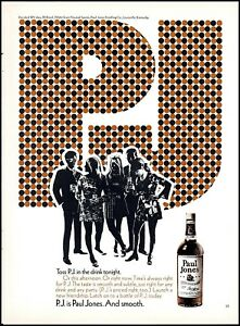 1970 young adult mods Paul Jones PJ whiskey bottle vintage art Print Ad ads20