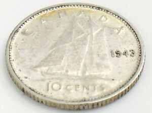 1943-Canada-Ten-10-Cents-Silver-Dime-Canadian-Circulated-George-VI-Coin-J955