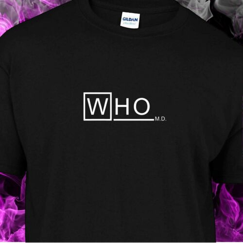 Spoof Doctor Who MD black cotton gildan crew neck S-XL