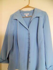DressBarn Blue  Long  Sleeve Button Down top Shirt Blouse Size 18/20
