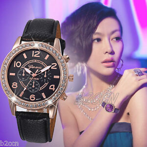 Fashion-Women-039-s-Geneva-Watch-Analog-Crystal-Leather-Quartz-Dress-Wrist-Watches