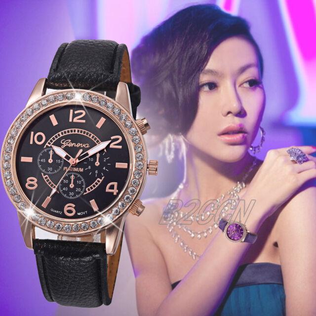 Fashion Women's Geneva Watch Analog Crystal Leather Quartz Dress Wrist Watches