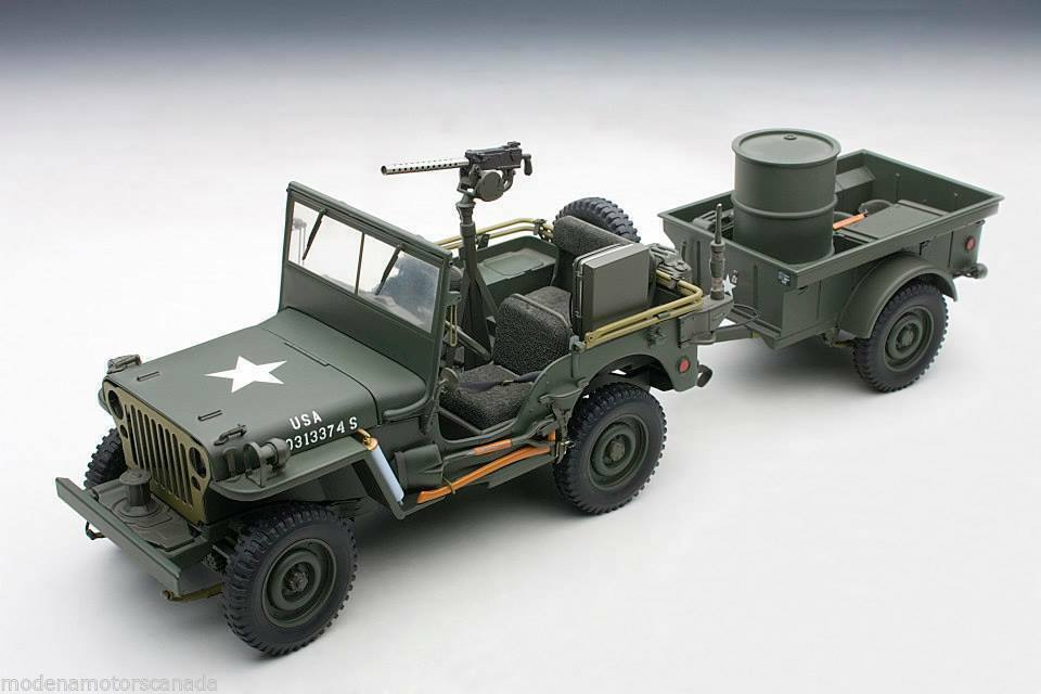 1 18 Autoart Jeep Willys (Army verde) (with tráiler Accessories included) 1943