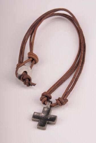 NN266 Marron Surfeur mignon pendentif croix en cuir dentelle collier choker