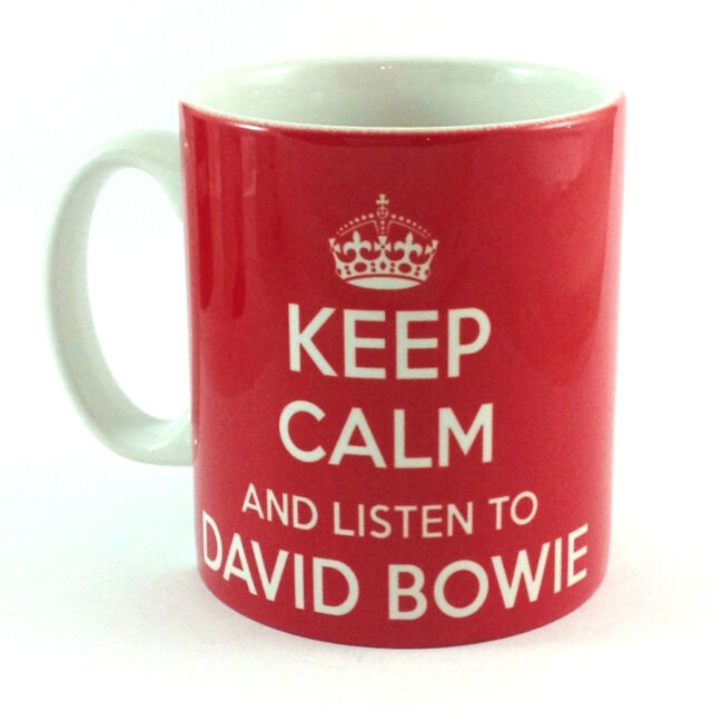 KEEP CALM AND LISTEN TO DAVID BOWIE GIFT MUG CARRY ON COOL BRITANNIA RETRO CUP