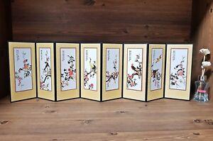 Folding-Screen-Desk-8-Panels-Colorful-Flower-amp-Birds-Korean-Classic