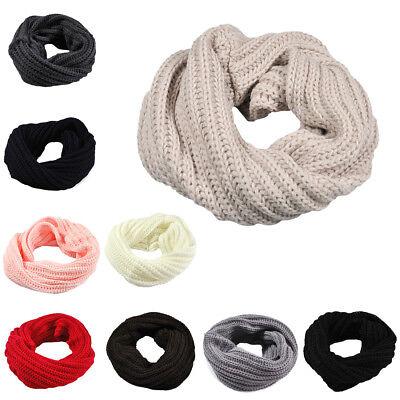 Men Women Wool Knit Winter Warm Cowl Neck Infinity Circle Scarf Shawl Xmas Gift
