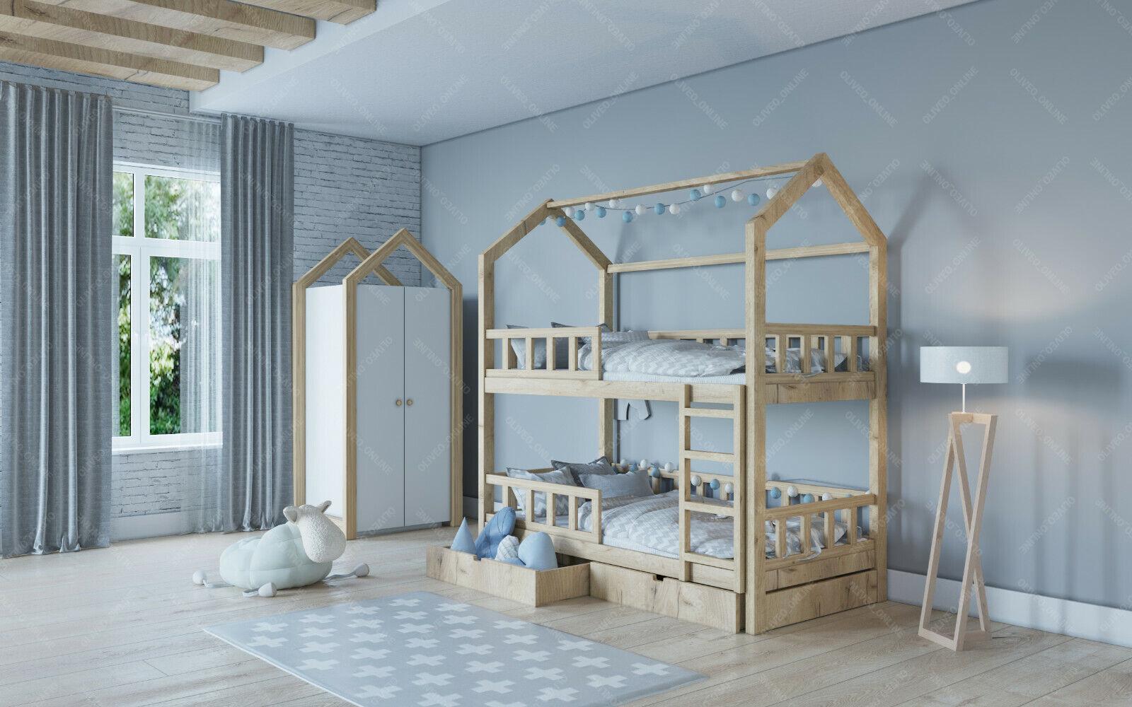 Kinderhaus, Lit pour enfants, lit bébé, lit bois, barrières de sécurité, Couleur