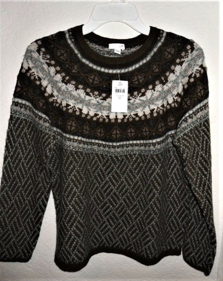 J.Jill Olive   Multi Nordic Pattern Ladies Sweater Size XS, New with Tag