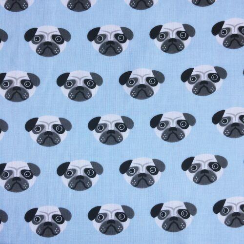 Bundle Remnant Polycotton Fabric 35 cm x 112 cm Blue Pug Dog Pets
