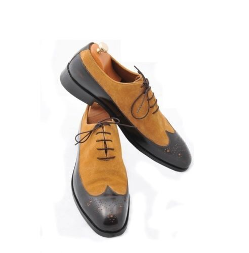 MEN MEN MEN NEW HANDMADE SUEDE LEATHER SHOES WINGTIP TWO TONE BLACK & TAN FORMAL SHOES bf4bbf