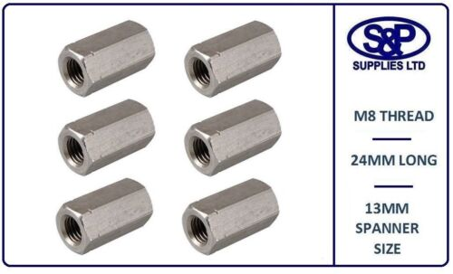 M8-8MM 8mm STAINLESS STEEL THREADED BAR CONNECTOR DEEP NUT A2 M8 X 24MM LONG
